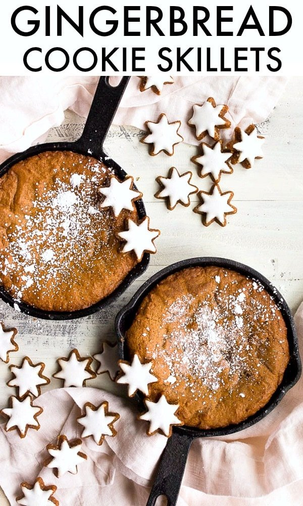 """Cast iron skillet cookie for two, a gingerbread cookie made in two mini 6"""" cast iron skillets. #gingerbread #skillet #cookies #castiron"""
