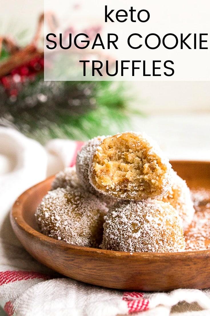 Keto sugar cookie truffles. Sugar free truffles, small- batch style. #ad #keto #ketocookie #ketocookies #sugarfree #ketosugarcookies #lowcarb @InTheRaw