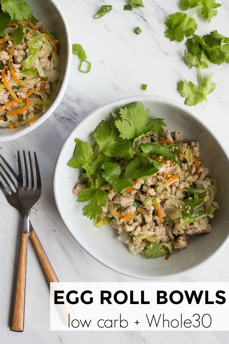 Egg Roll Bowls that are Whole30 friendly! Low carb and gluten free egg roll bowls recipe. #eggroll #eggrollbowl #eggrollinabowl #lowcarb #whole30 #whole30dinner #whole30lunch #pork #groundpork #glutenfree #glutenfreedinner