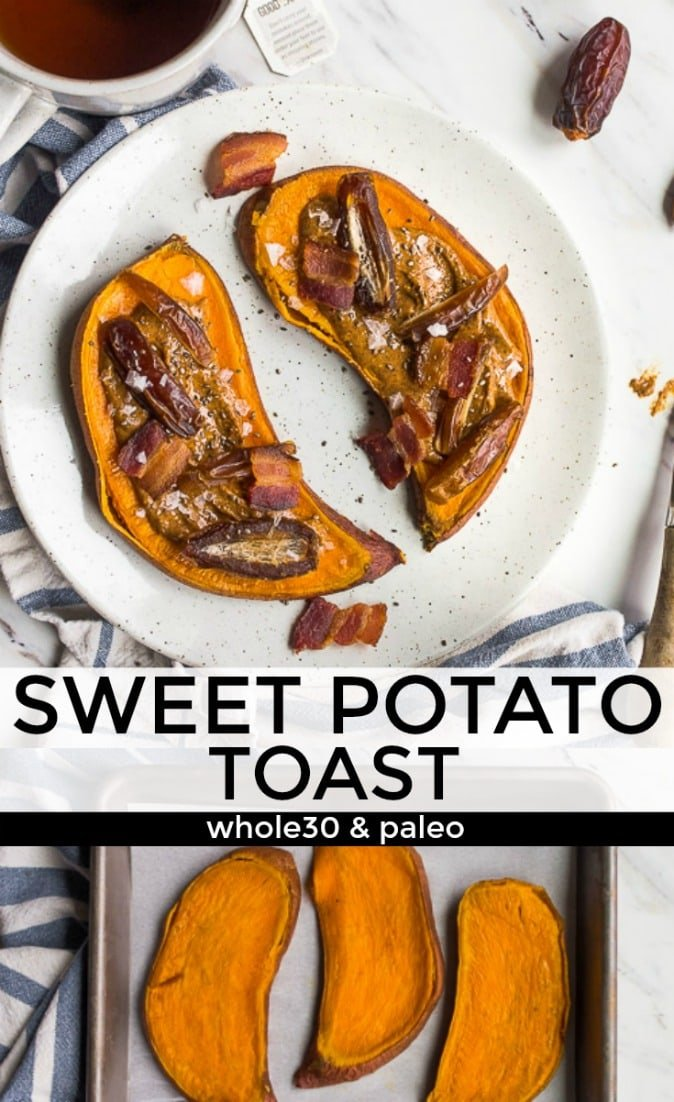 Sweet potato toast is a great Whole30 breakfast option! It's also a paleo and gluten free breakfast, too! #whole30 #whole30breakfast #whole30recipes #paleo #lowcarb #lowfodmap #glutenfree #whole30ideas