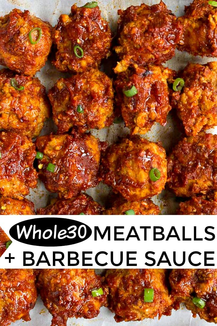 Whole30 meatballs with homemade Whole30 barbecue sauce. Tender turkey meatballs made with mashed sweet potato and almond flour. #whole30 #whole30dinner #whole30meatballs #meatballs #healthymeatballs #paleo #lowcarb #barbecuesauce #barbecue #paleomeatballs #sweetpotato