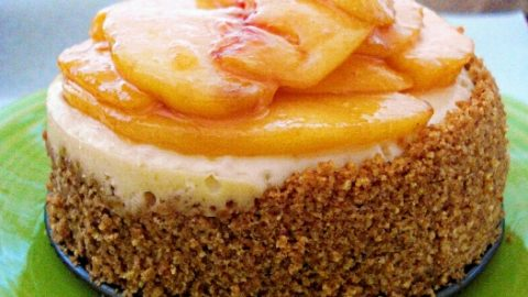 Cheesecake with Honey-ed Peaches