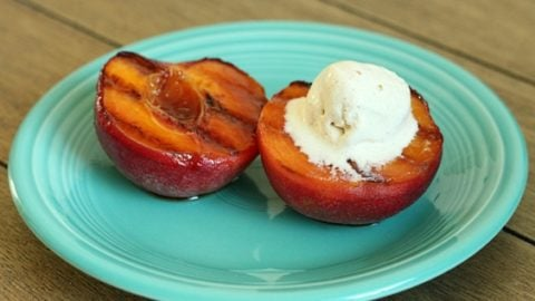 Grilled Peaches with Cinnamon Ice Cream