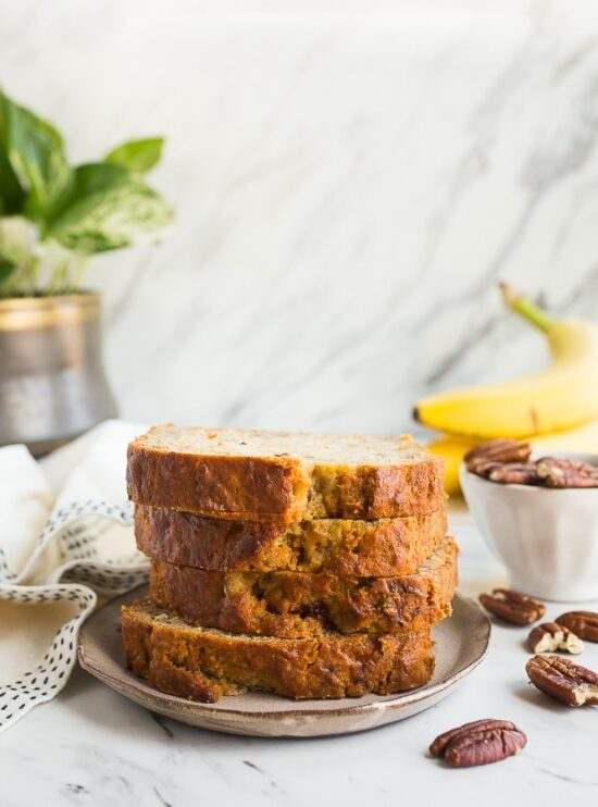 Banana Bread no eggs! The best egg free banana bread in a loaf pan!