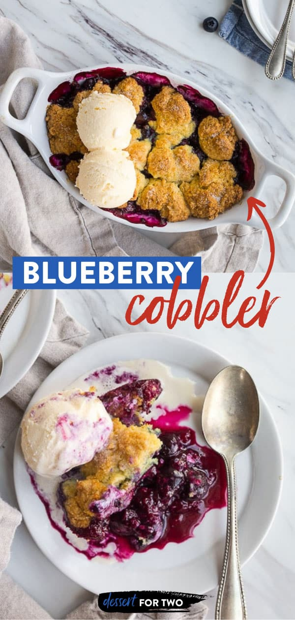Blueberry Cobbler Recipe. Best ever blueberry cobbler with crisp cornmeal biscuit topping. #blueberry #freshblueberry #blueberrydessert #blueberrycobbler #blueberrycobblerrecipe #cookingfortwo #springdessert #easterdessert #summerdessert #cobbler #cobblerrecipe #fruitcobbler