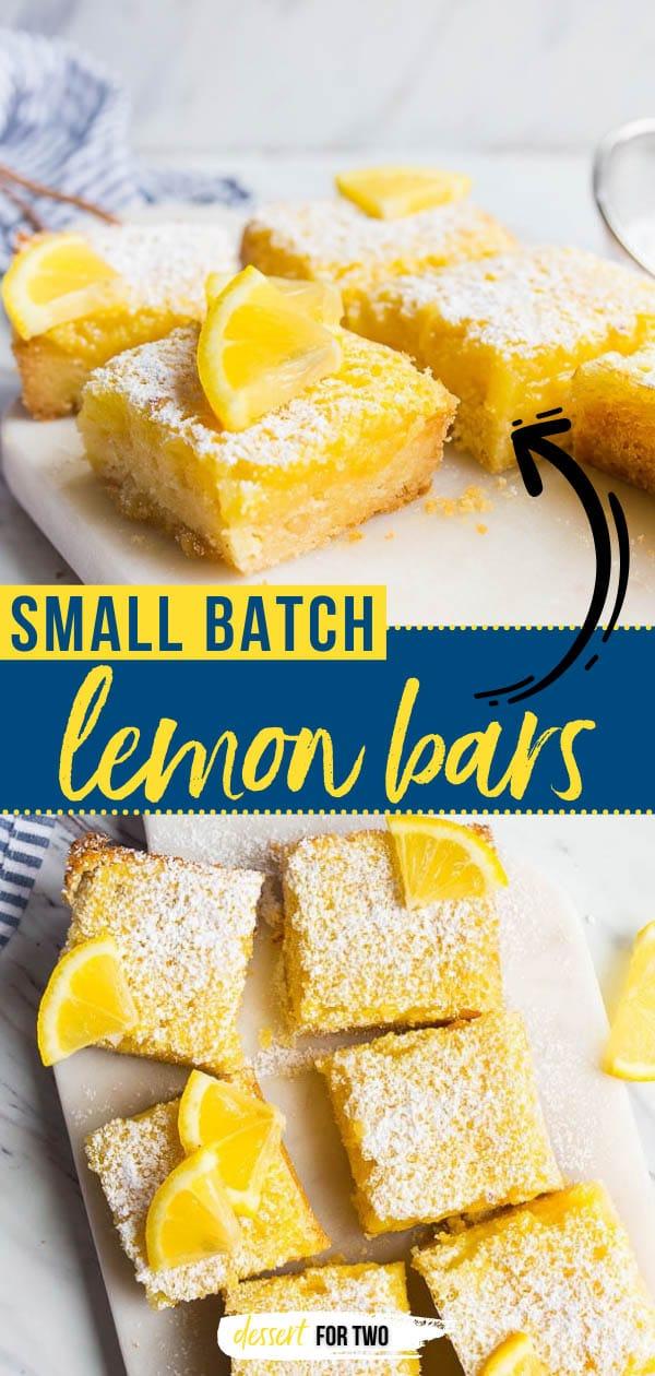 Best ever lemon bars recipe! Small batch lemon bars made in a bread loaf pan. #cookingfortwo #lemonbars #lemonbarsrecipe #lemondesserts #springdesserts #easterdesserts #lemon #lemons
