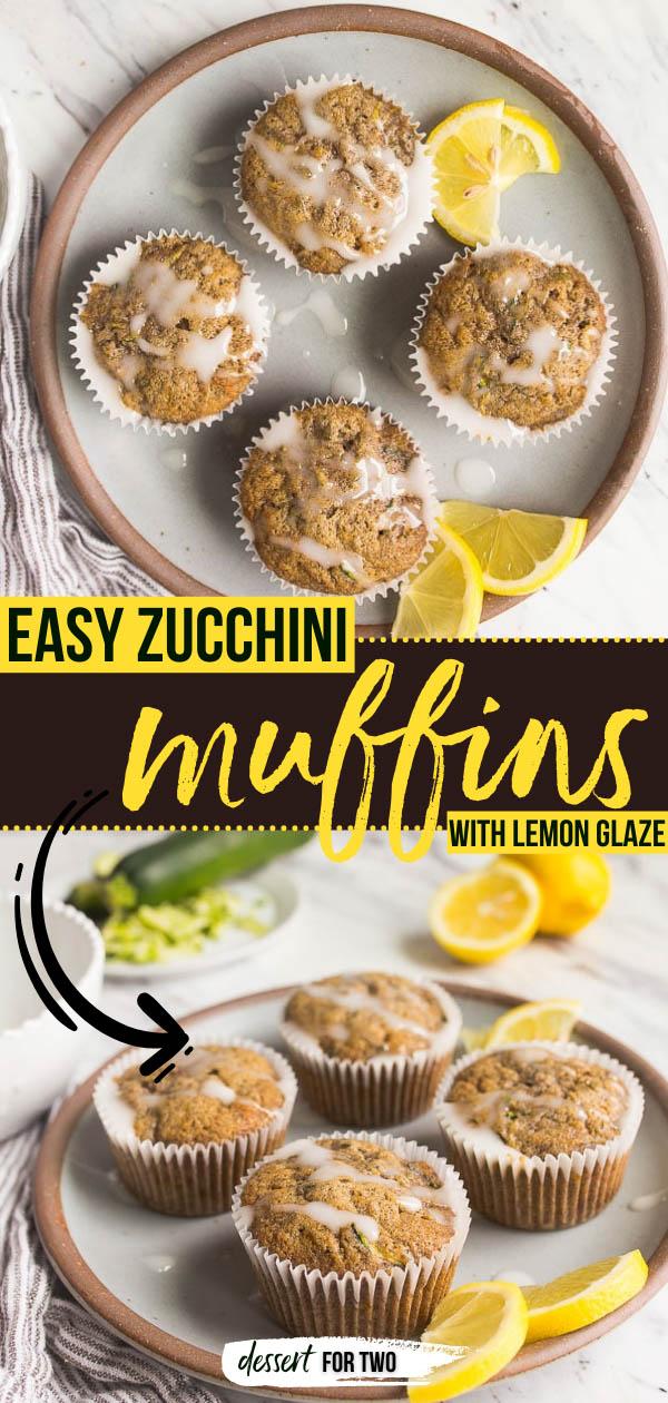 Small batch zucchini muffins with lemon glaze.