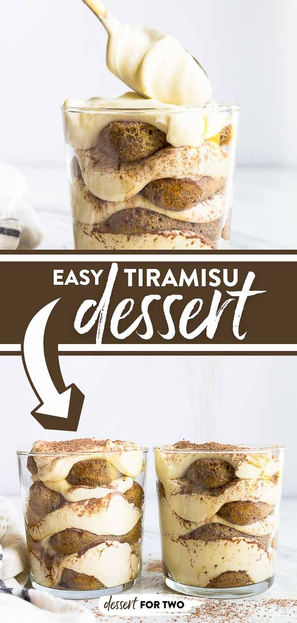 Tiramisu for two in glass cups.