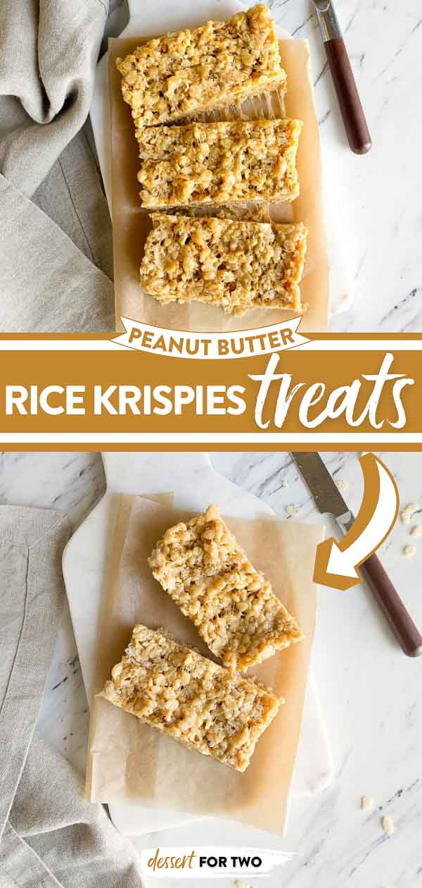 Peanut butter rice krispie treats for two. Small batch rice krispie treats made in a bread loaf pan. Peanut butter desserts that are perfect for an after school snack for kids. @DessertForTwo