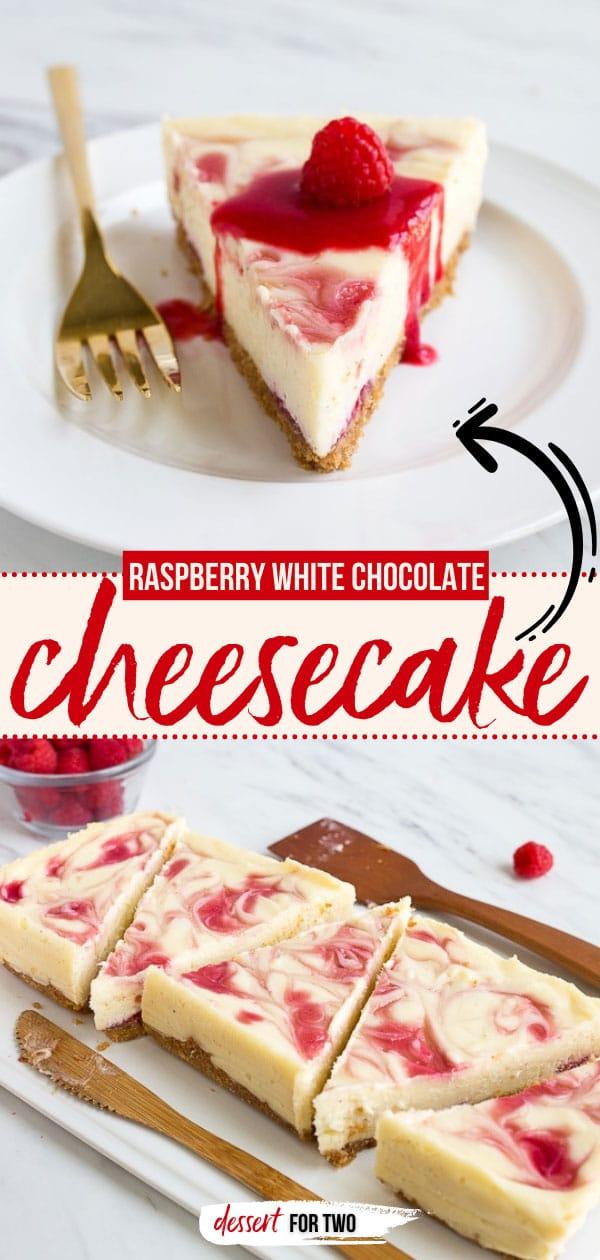 Raspberry white chocolate cheesecake slice on plate.