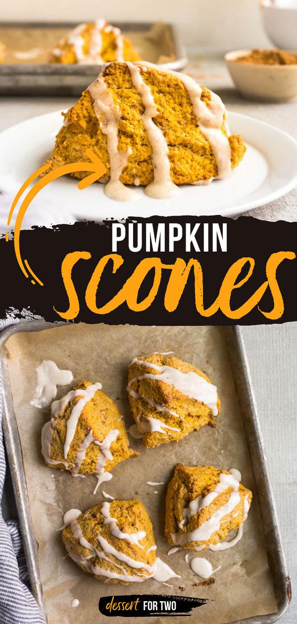 Small batch pumpkin scones for two! Recipe makes 4 pumpkin scones packed with real pumpkin and pumpkin spice! The pumpkin spice glaze on top is addicting! #pumpkin #pumpkindessert #pumpkinspice #pumpkinscones #starbuckscopycat #copycatrecipes #scones #sconerecipe #creamscones #creamscone #smallbatch #fortwo #bakingfortwo #dessertfortwo