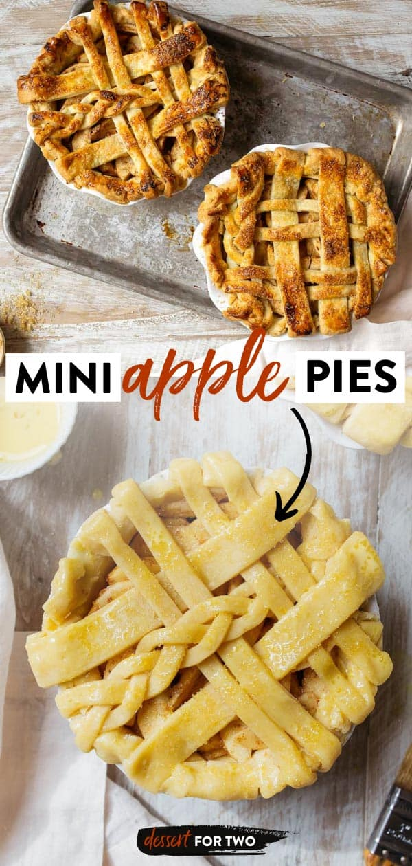 """Mini apple pies for two. Using a 6"""" pie dish, make small pies for two. Best apple pie recipe. Small pie. Small pies for two. Mini lattice. Lattice pie. #miniapplepie #miniapplepierecipe #applepie #falldesserts #dessertsfortwo"""