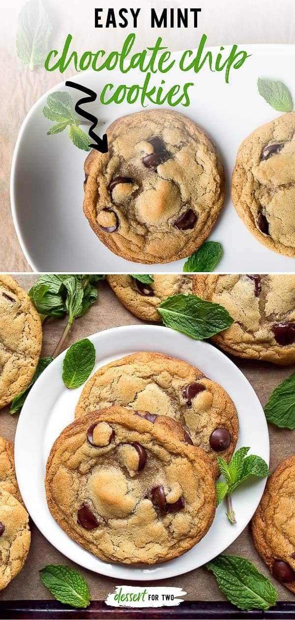 Mint chocolate chip cookies made with fresh mint. #mint #mintchocolate #mintchocolatechip #mintchocolatechipcookies