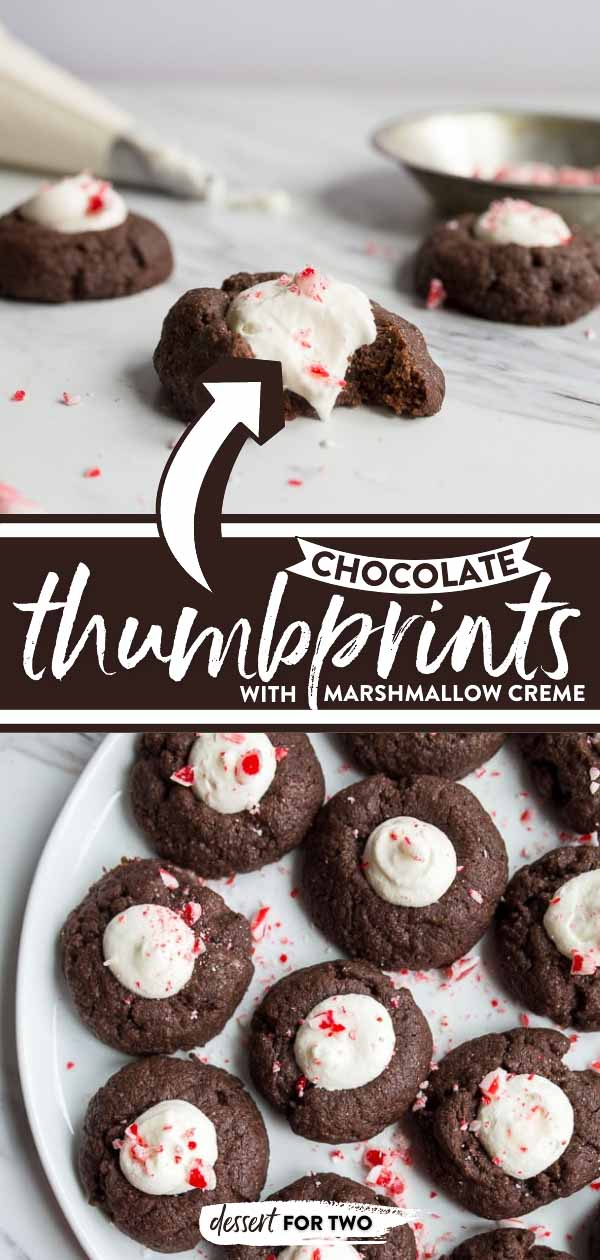 Chocolate thumbprints with marshmallows.