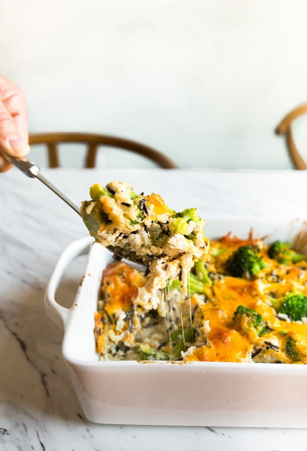 broccoli rice casserole with chicken and cheese