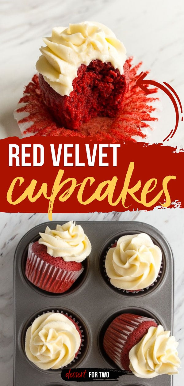 Red velvet cupcakes with cream cheese frosting swirl.