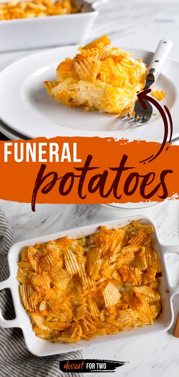 Funeral potatoes with chips on top.