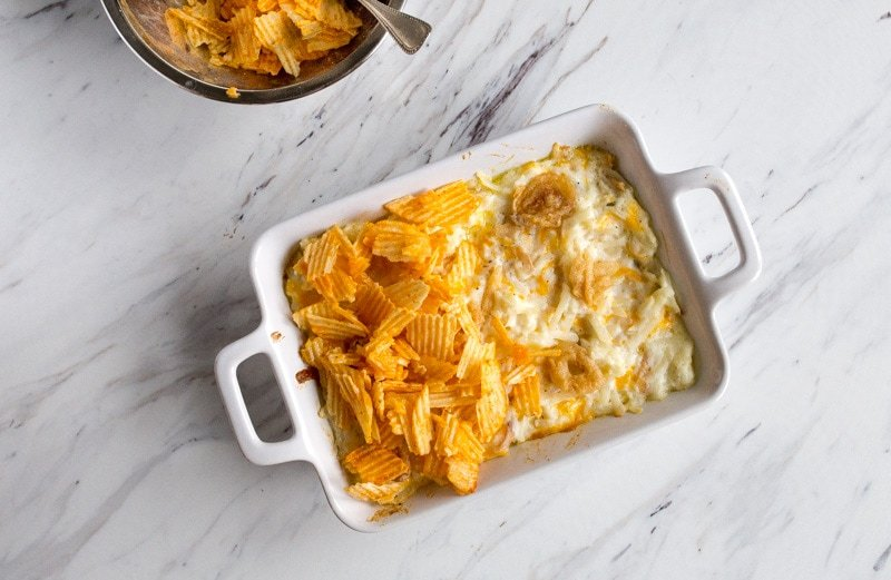 potato chip topped casserole