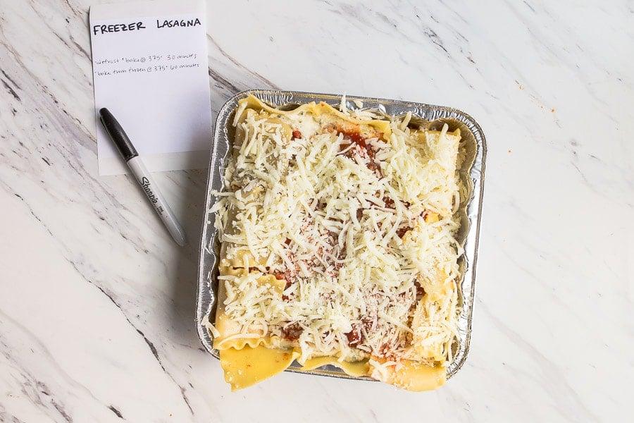 homemade easy lasagna freezer meals