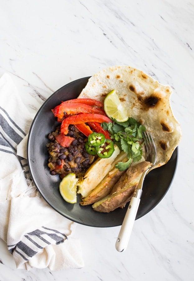 vegan burrito bowls with black beans
