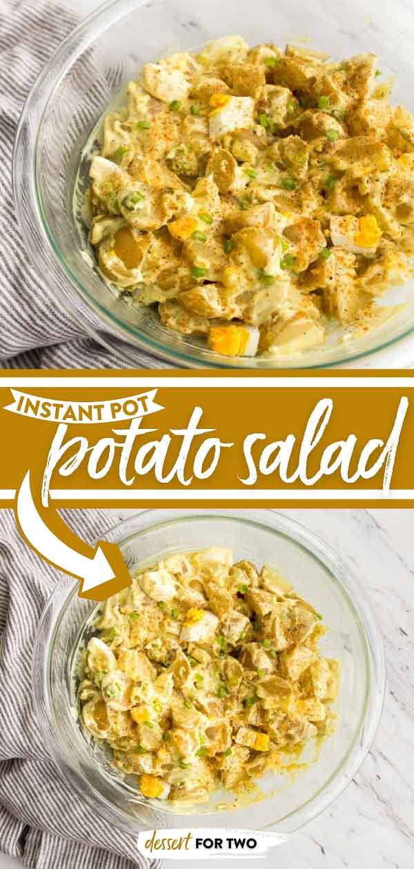 Instant pot potato salad in bowl.