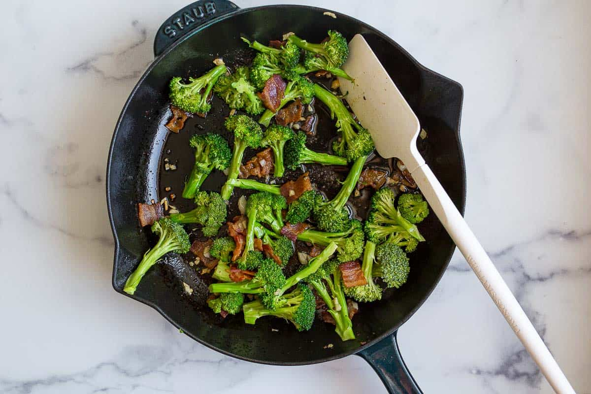 broccoli and bacon in skillet