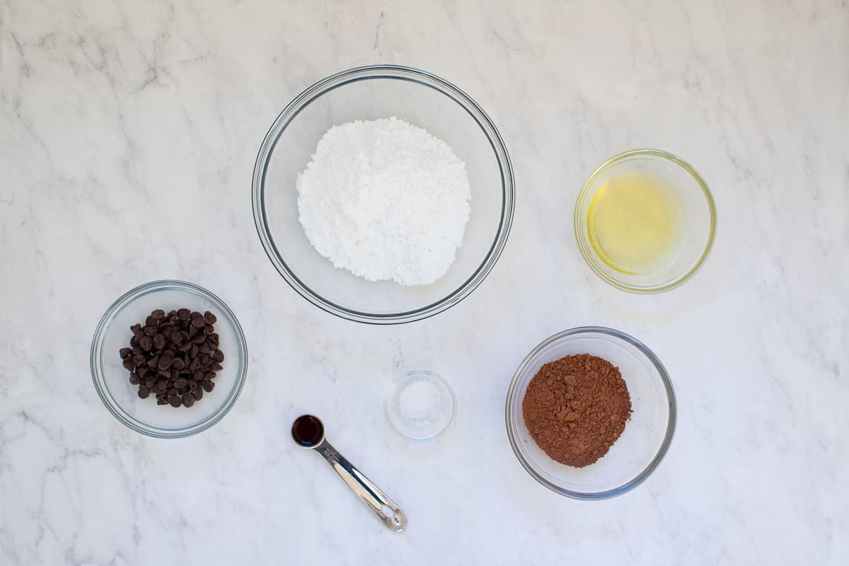 ingredients for flourless chocolate cookies