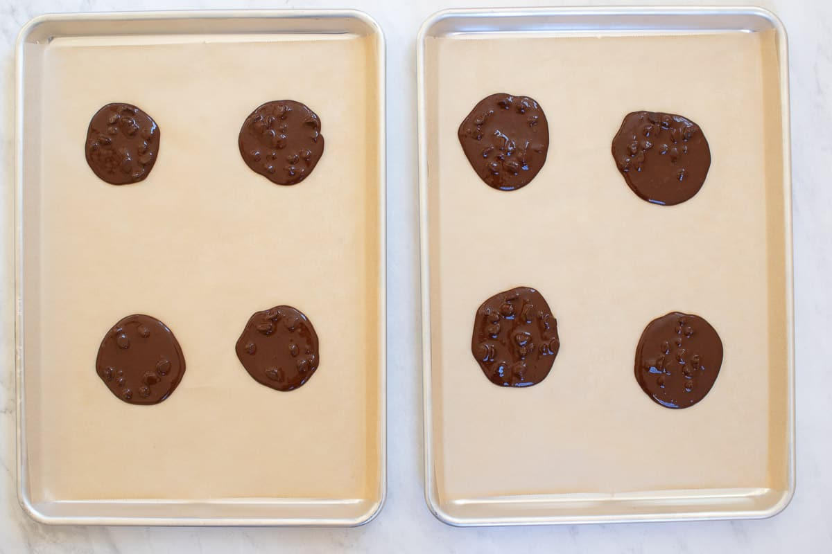 chocolate cookies on baking sheets