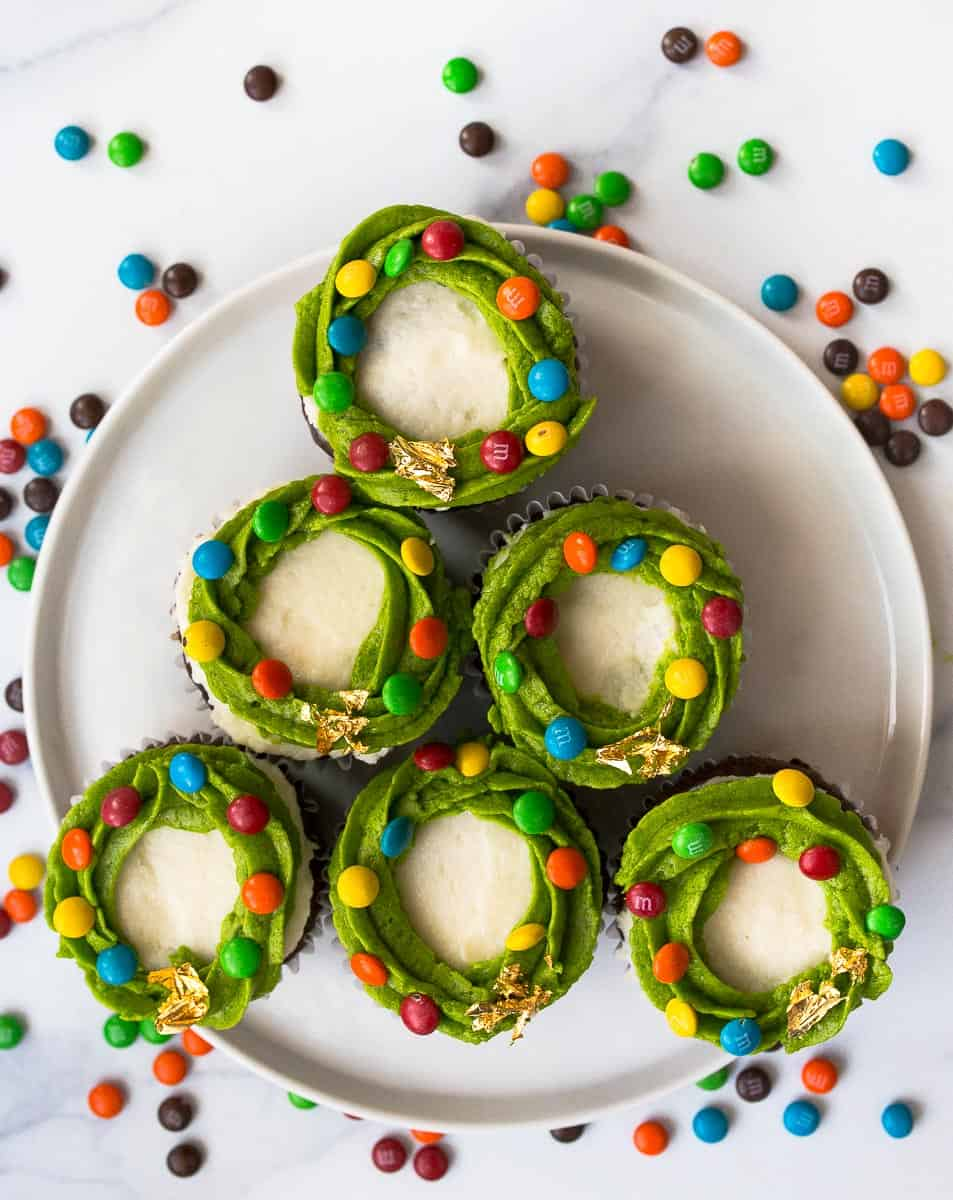 wreath cupcakes with M&Ms