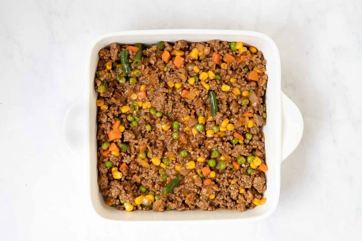 Shepherds pie for two in a 8 inch casserole dish.