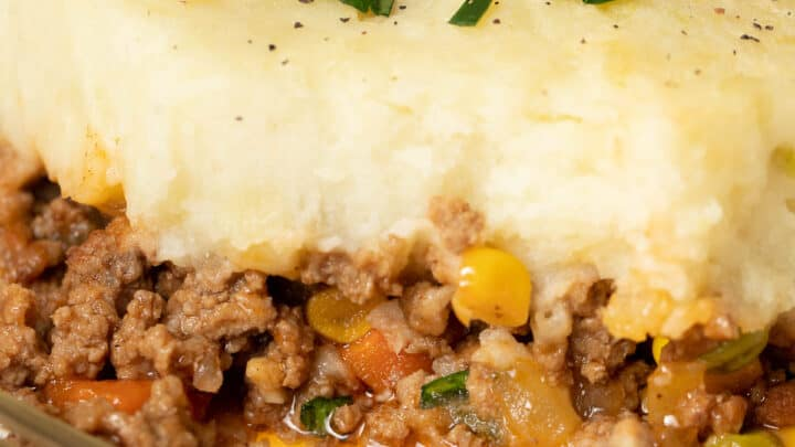 Close up of cottage pie for 2.