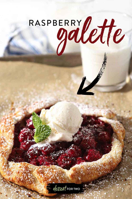 Fresh raspberry tart for two.