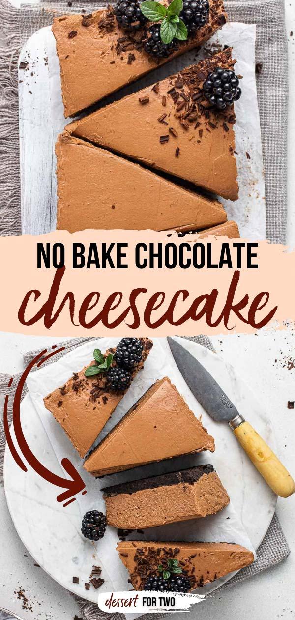 No bake chocolate cheesecake with Oreo crust.