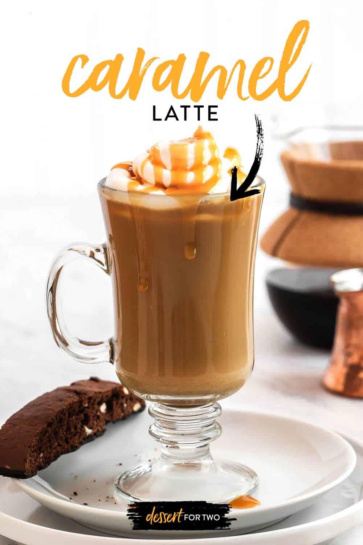 Brown coffee drink in glass mug.