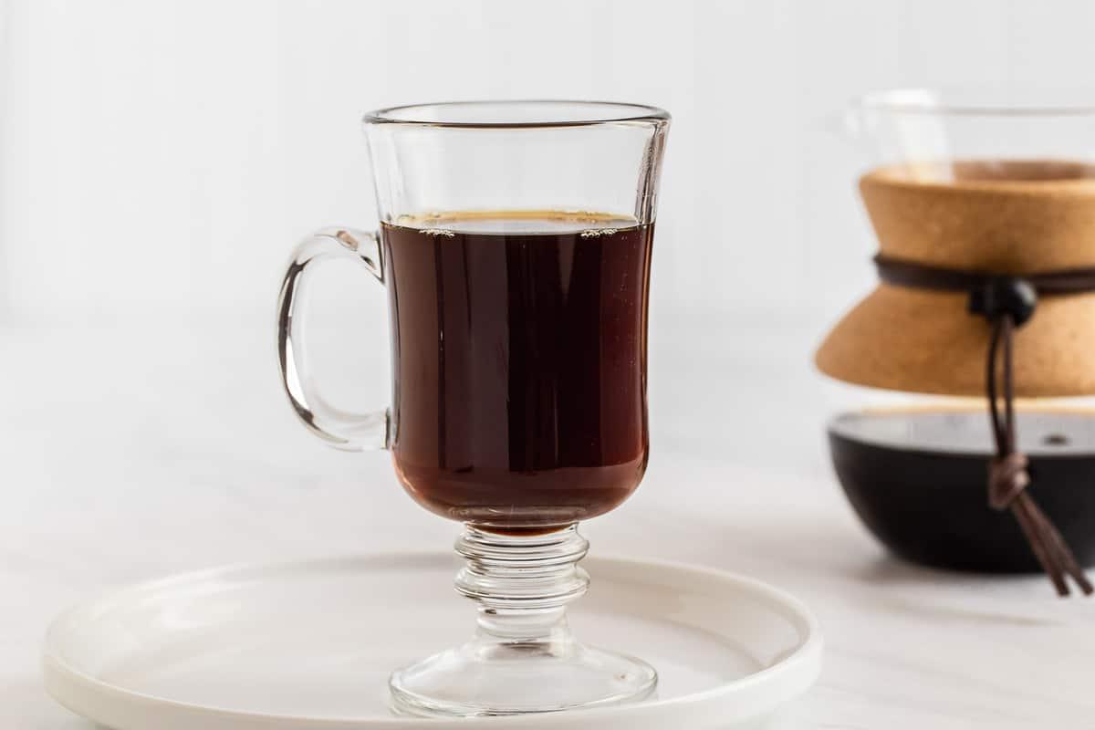 Coffee in clear mug.