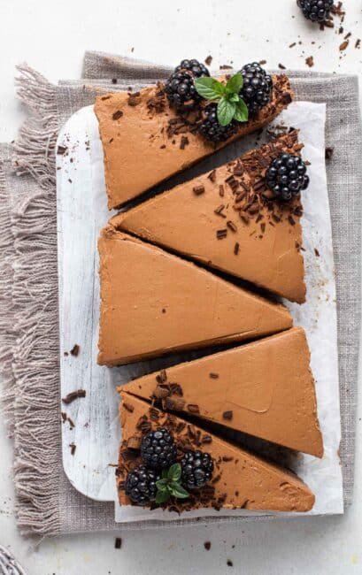 No bake chocolate cheesecake in a loaf pan sliced.