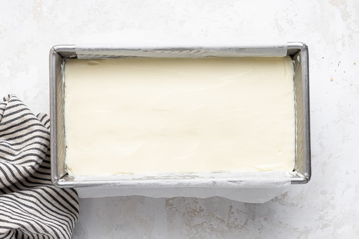 No bake cheesecake in a bread loaf pan.