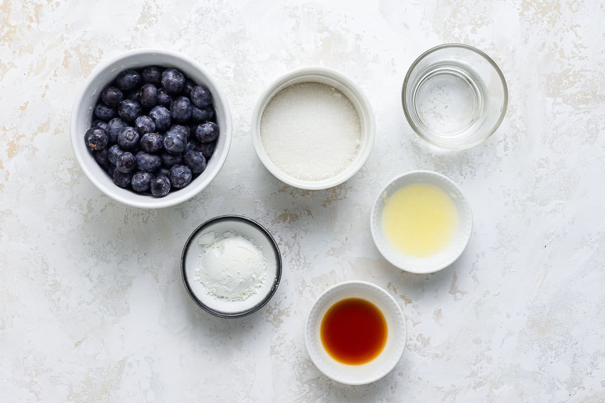 Ingredients for fresh blueberry sauce.