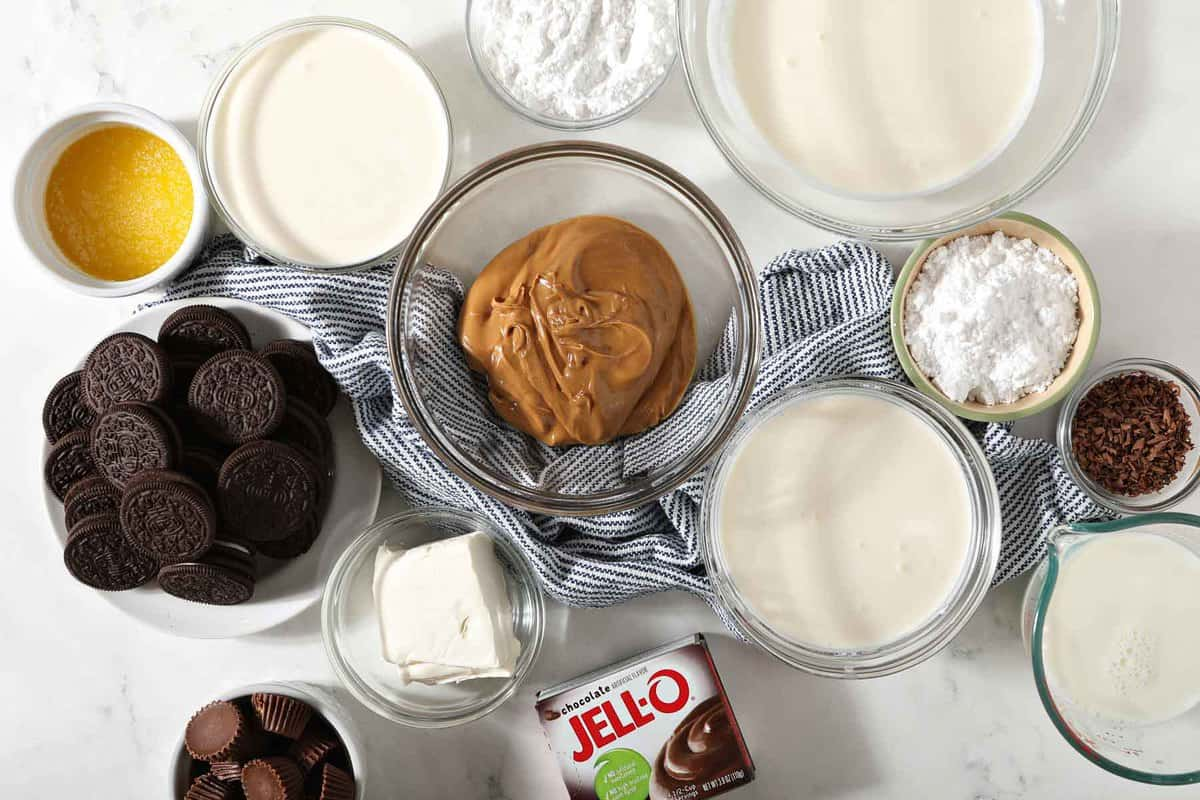 Ingredients for peanut butter lasagna.