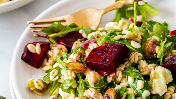 Close up of beetroot and feta salad with rocket.