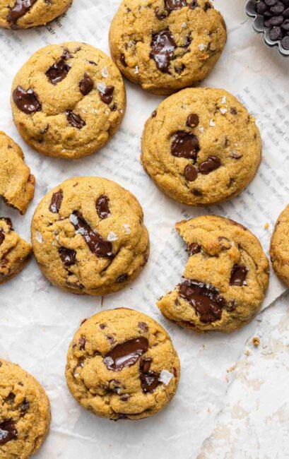 Brown sugar chocolate chip cookies on table.