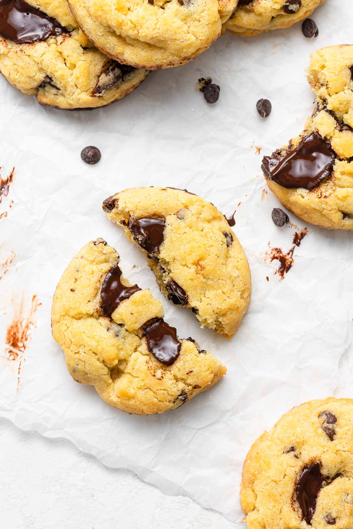 Close up of chewy chocolate chip cookies without brown sugar.