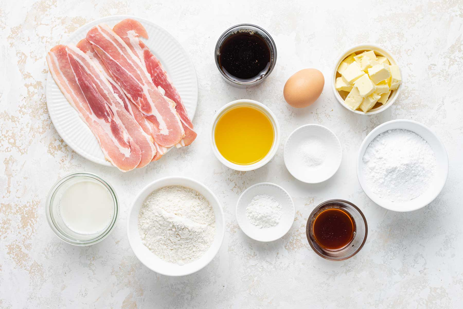 Ingredients for maple bacon cupcakes.