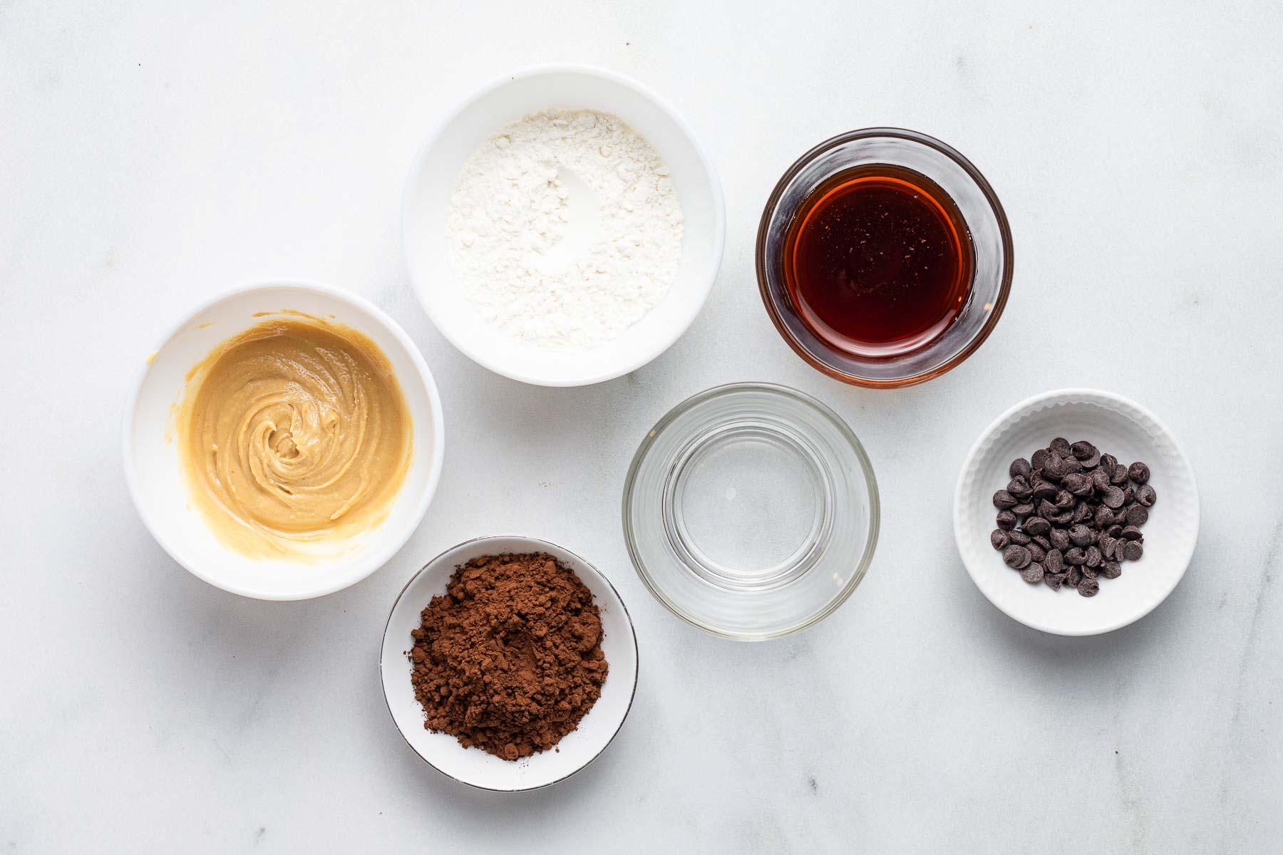 Ingredients for a ramekin microwave brownie.