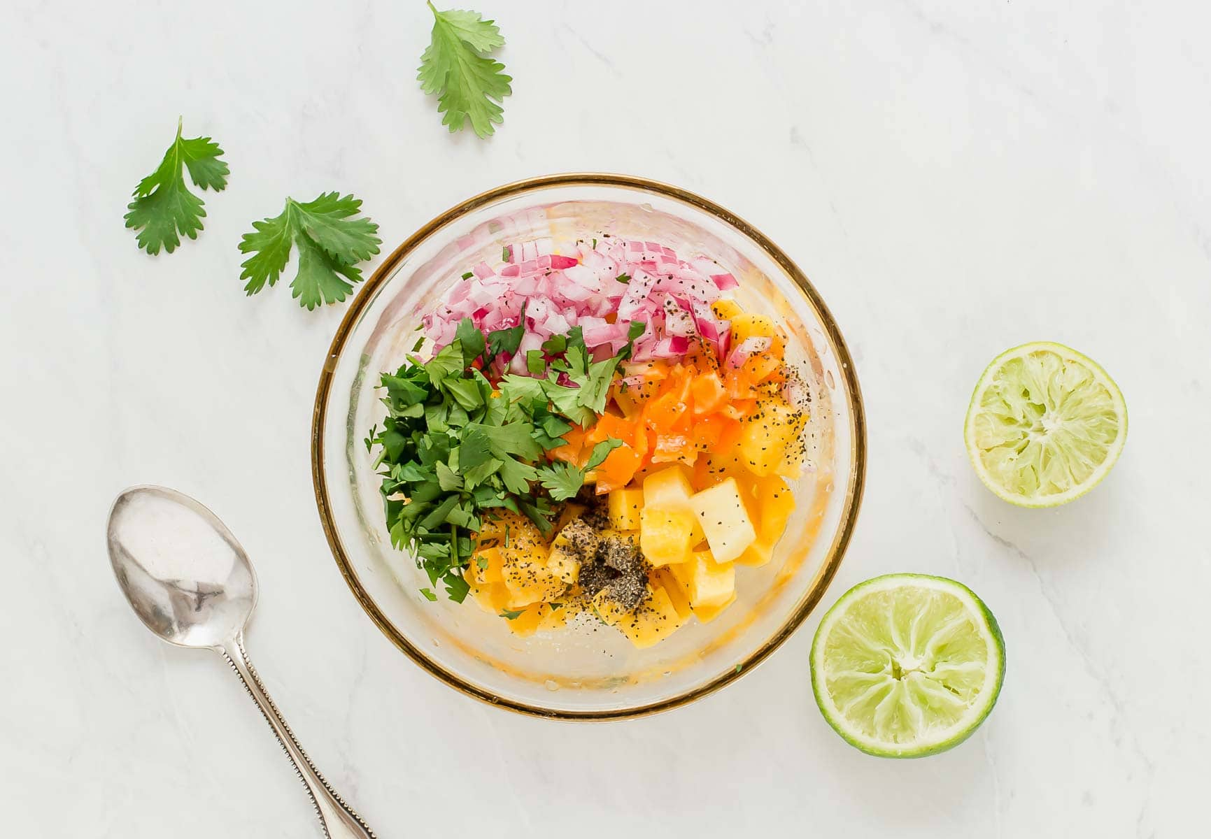 Mango habanero salsa in a bowl before stirring.
