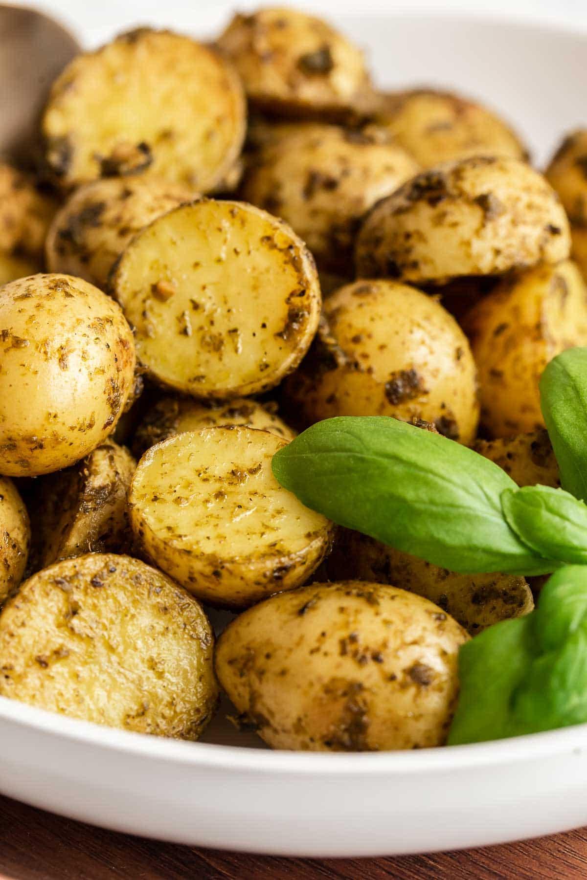 Up close roasted pesto potatoes.