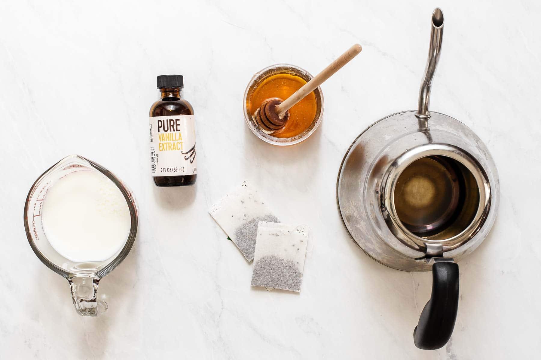 Ingredients for a London fog earl grey latte.