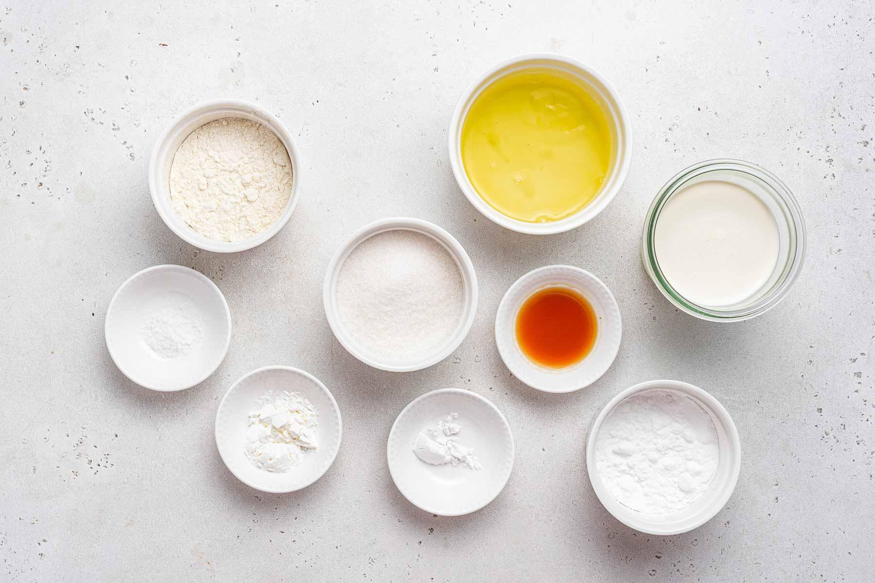 Ingredients for angel food cupcakes.